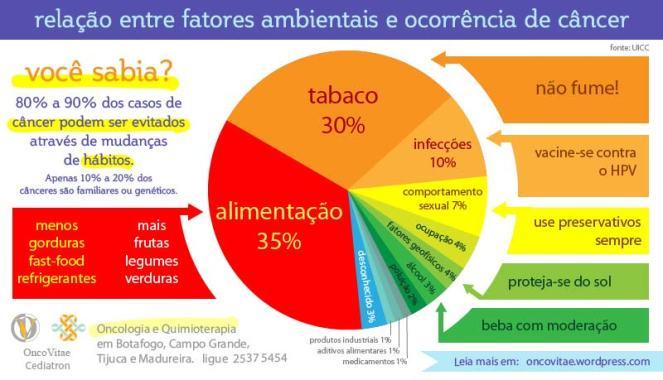 alimentação e tabaco são os principais fatores ambientais ligados à ocorrência de câncer.